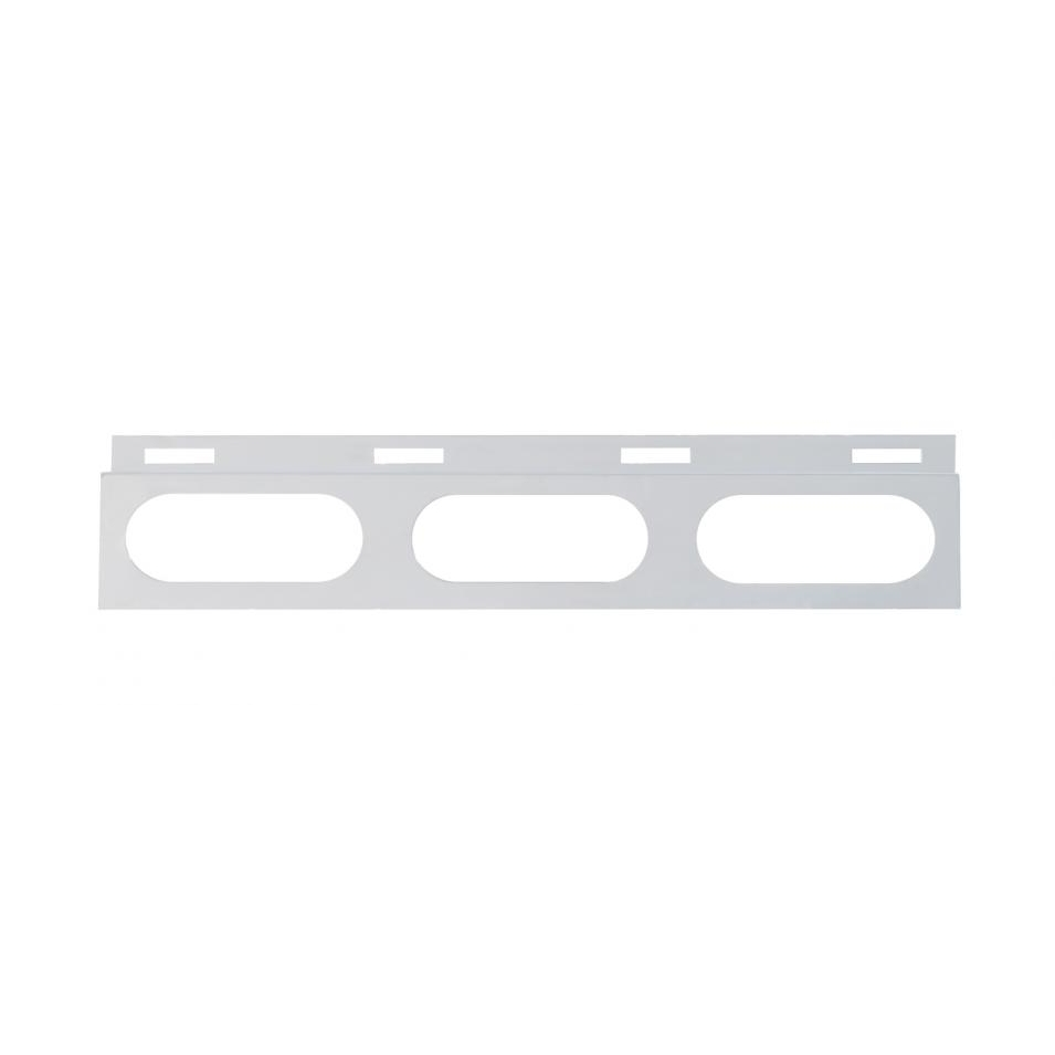 Stainless Top Mud Flap Plate w/ 3 Oval Lights & Grommet - Red Lens
