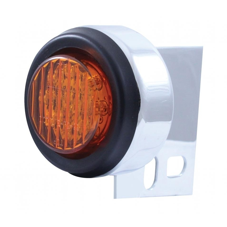 9 LED Universal Mud Flap Hanger End Light w/ Grommet - Amber LED/Amber Lens