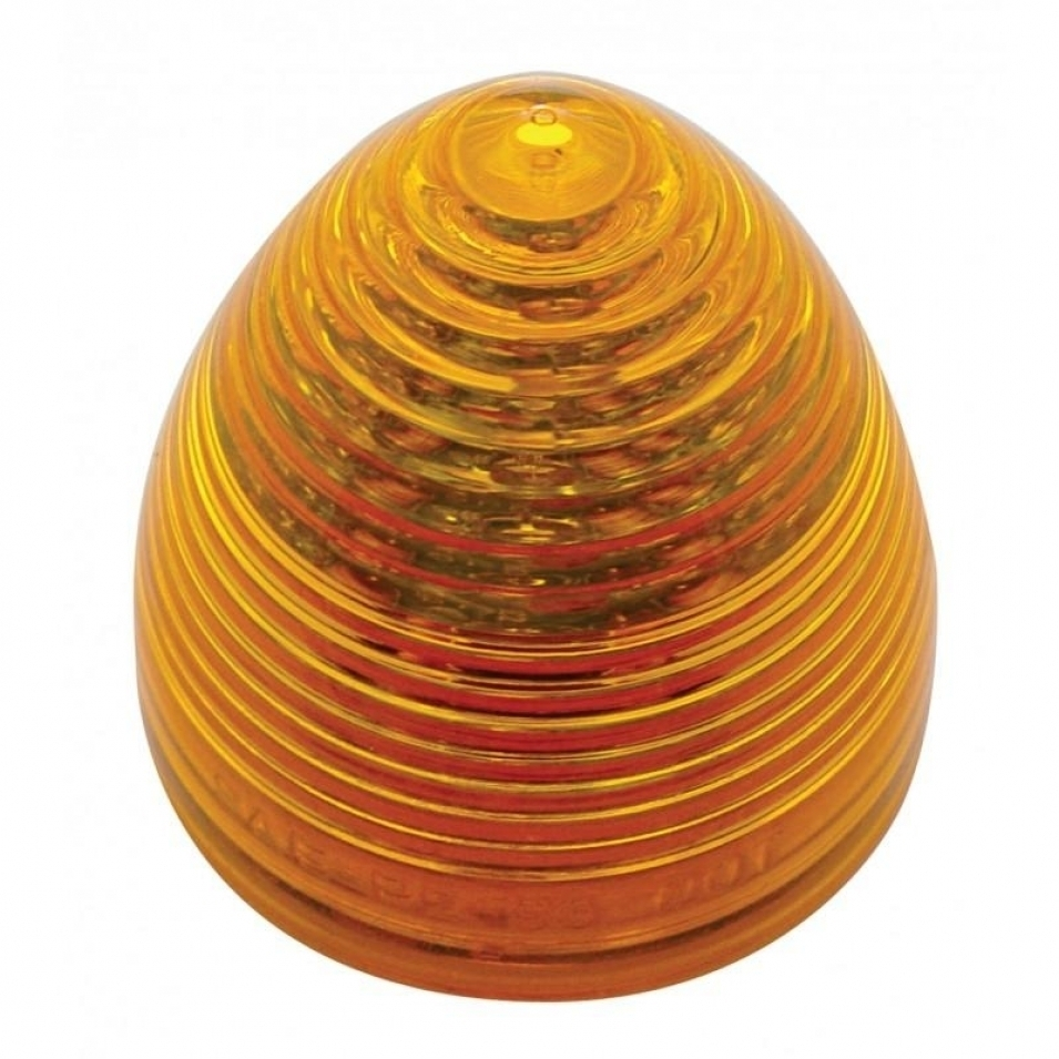9 LED Beehive Mud Flap Hanger End Light w/ Grommet - Amber LED/Amber Lens