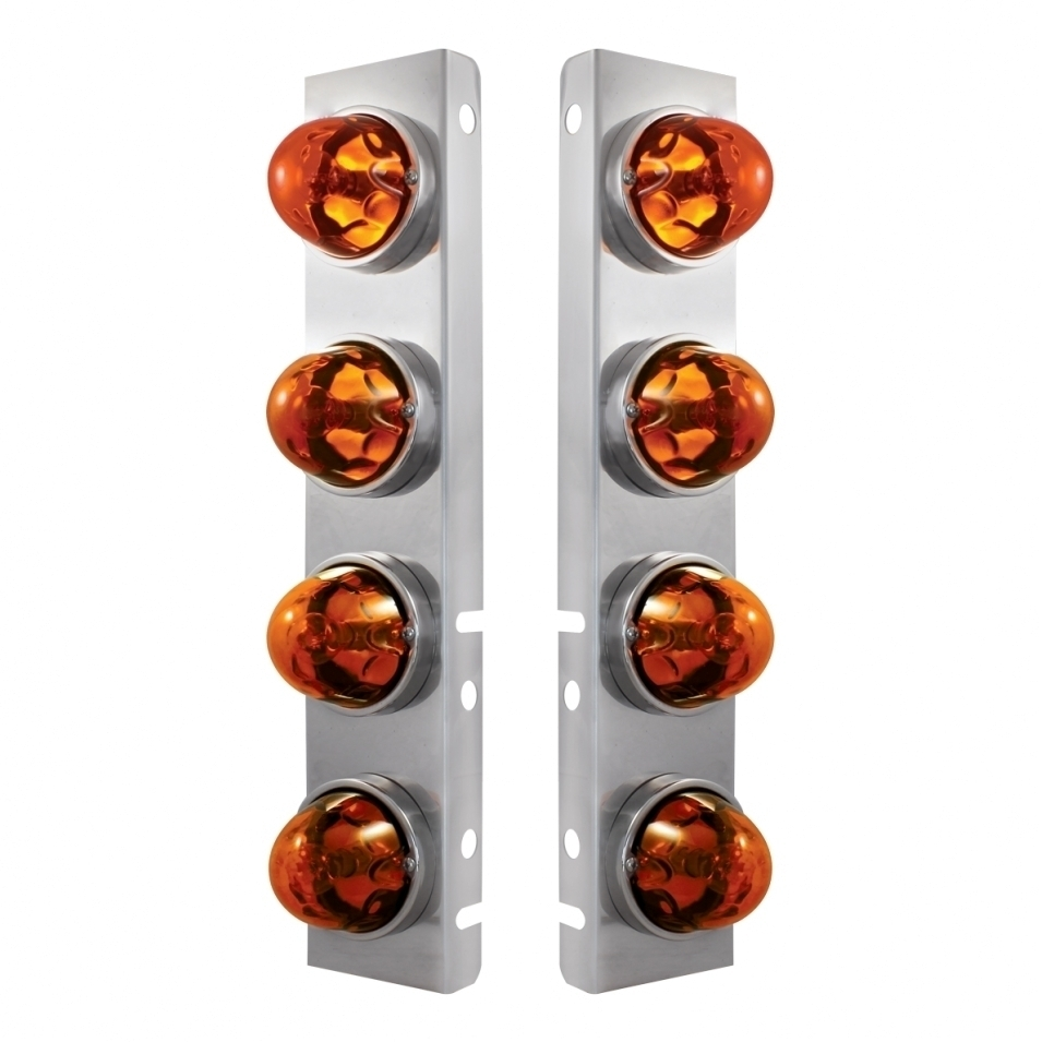 Peterbilt Stainless Front Air Cleaner Bracket w/ Eight Glass Original Lights & Stainless Bezels - Dark Amber Lens