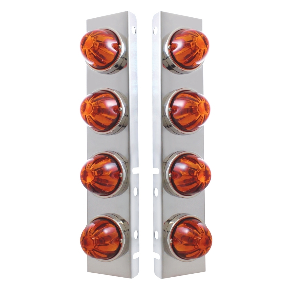 Peterbilt Front Air Cleaner Kit w/ 8 Glass Watermelon Lights & Bezels - Dark Amber