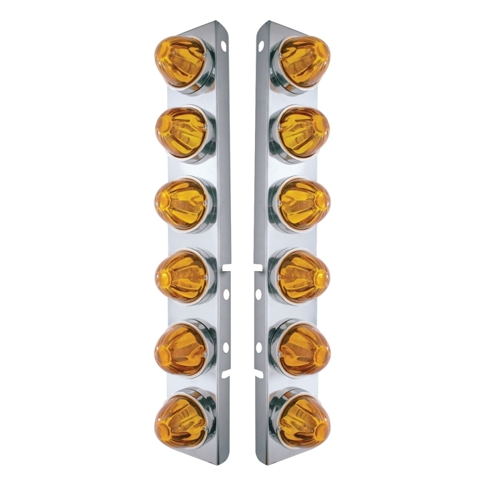 Peterbilt Stainless Front Air Cleaner Bracket w/ Twelve Glass Watermelon Lights & Stainless Bezels - Amber Lens