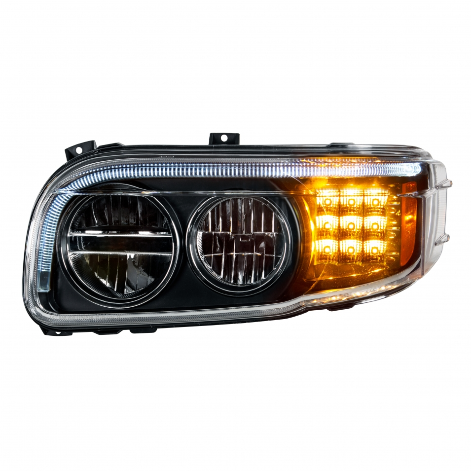 Full LED Headlight with Turn Signal & Position Light Bar for 2008+ Peterbilt 388/389 - Blackout - Driver